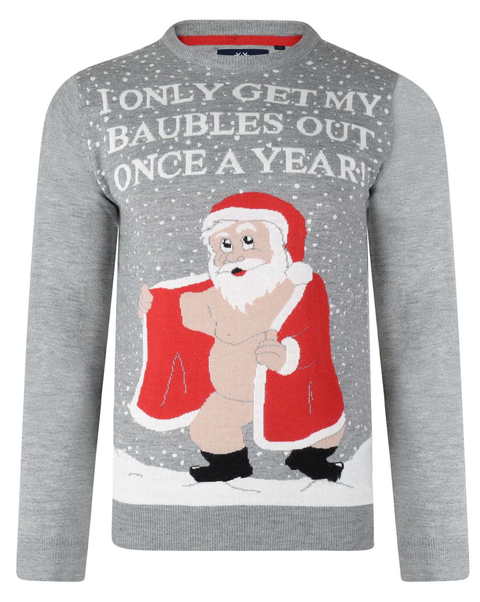 Christmas Jumpers Navy Novelty Funny Xmas Knit Santa Winner Chicken Dinner