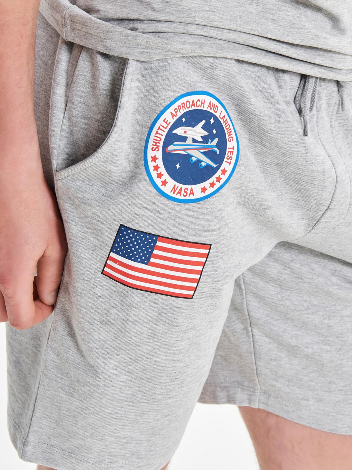 Only /& Sons NASA Space Astronaut Mens Casual Jogger Shorts Fleece Cotton Grey