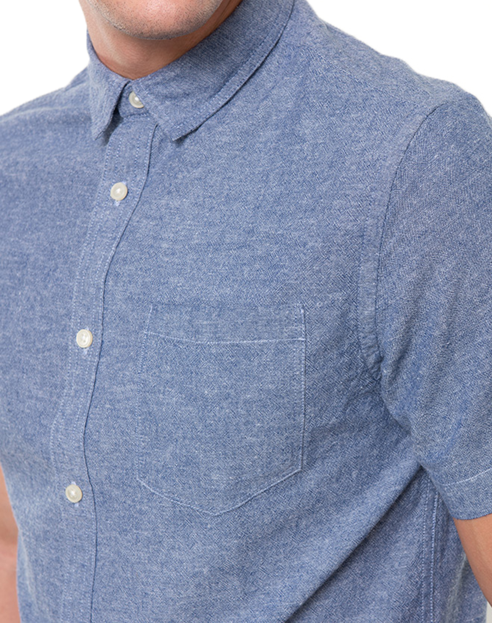 ONLY /& SONS Short Sleeve Tinso Shirt Mens Slim Fit Casual Smart Shirts Blue