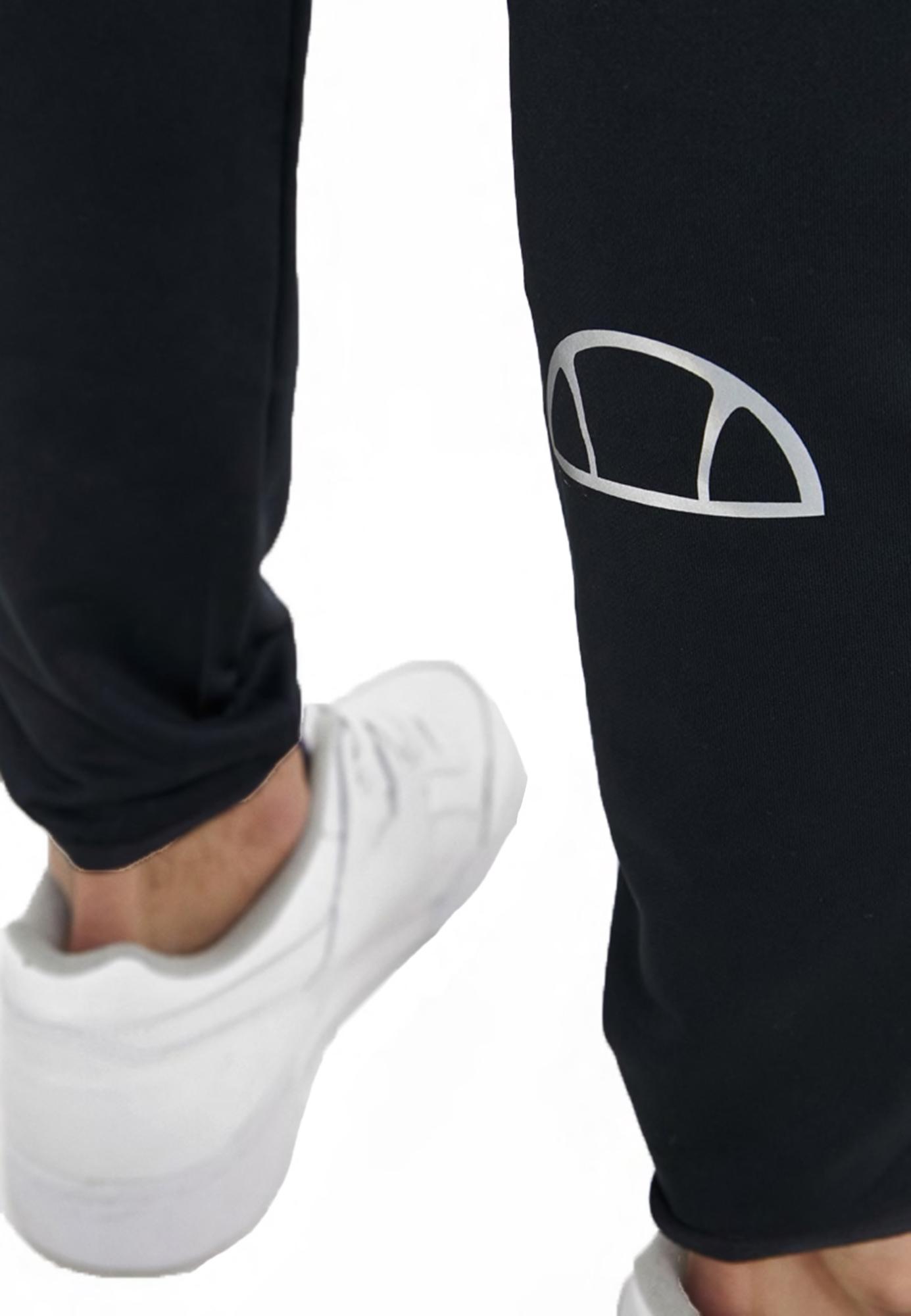 Detalles de Ellesse Hombre Run Jogging Fondos Poliéster Chándal Pantalones Antracita Negro