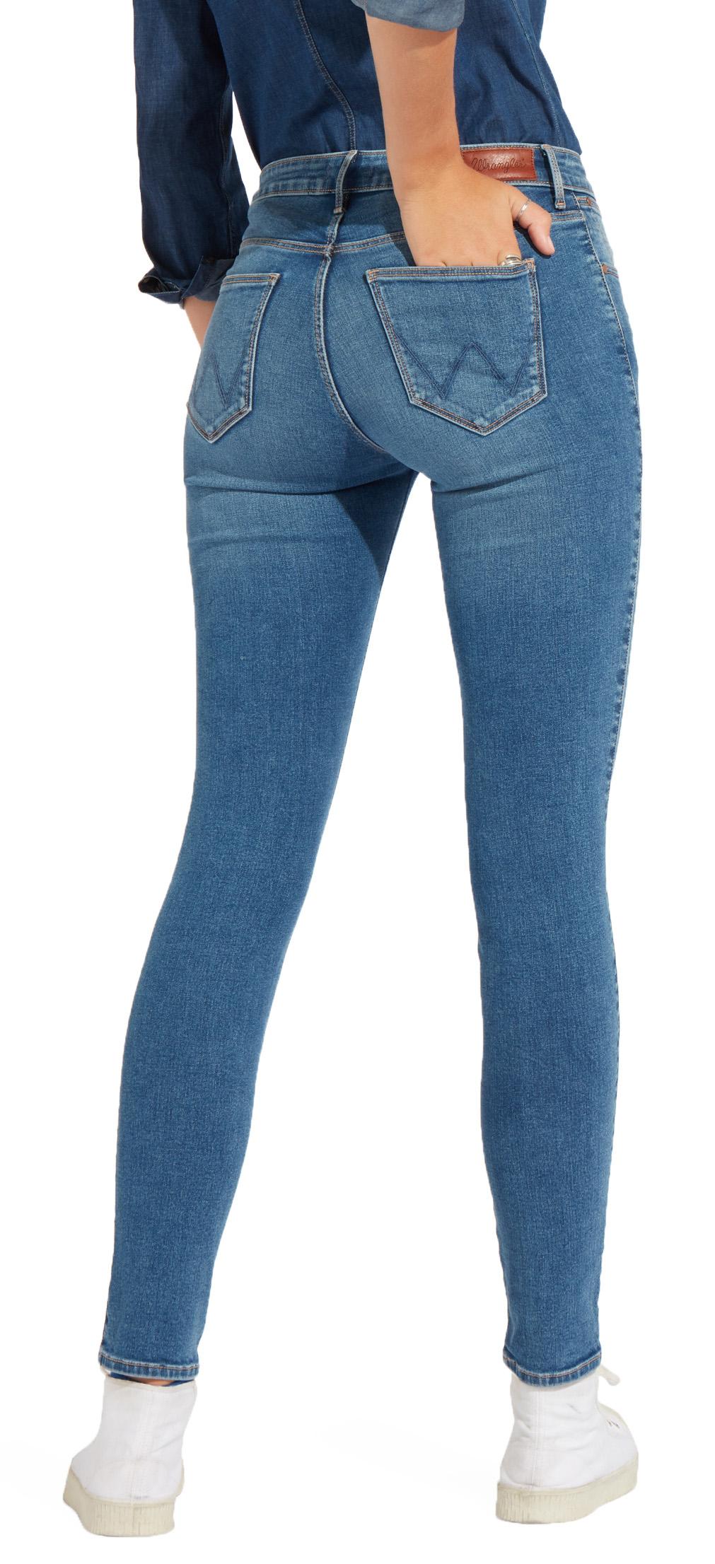 Wrangler Alta Rise Skinny Jeans Para Mujeres Damas Perfecto Flex Stretch Azul Denim Ebay