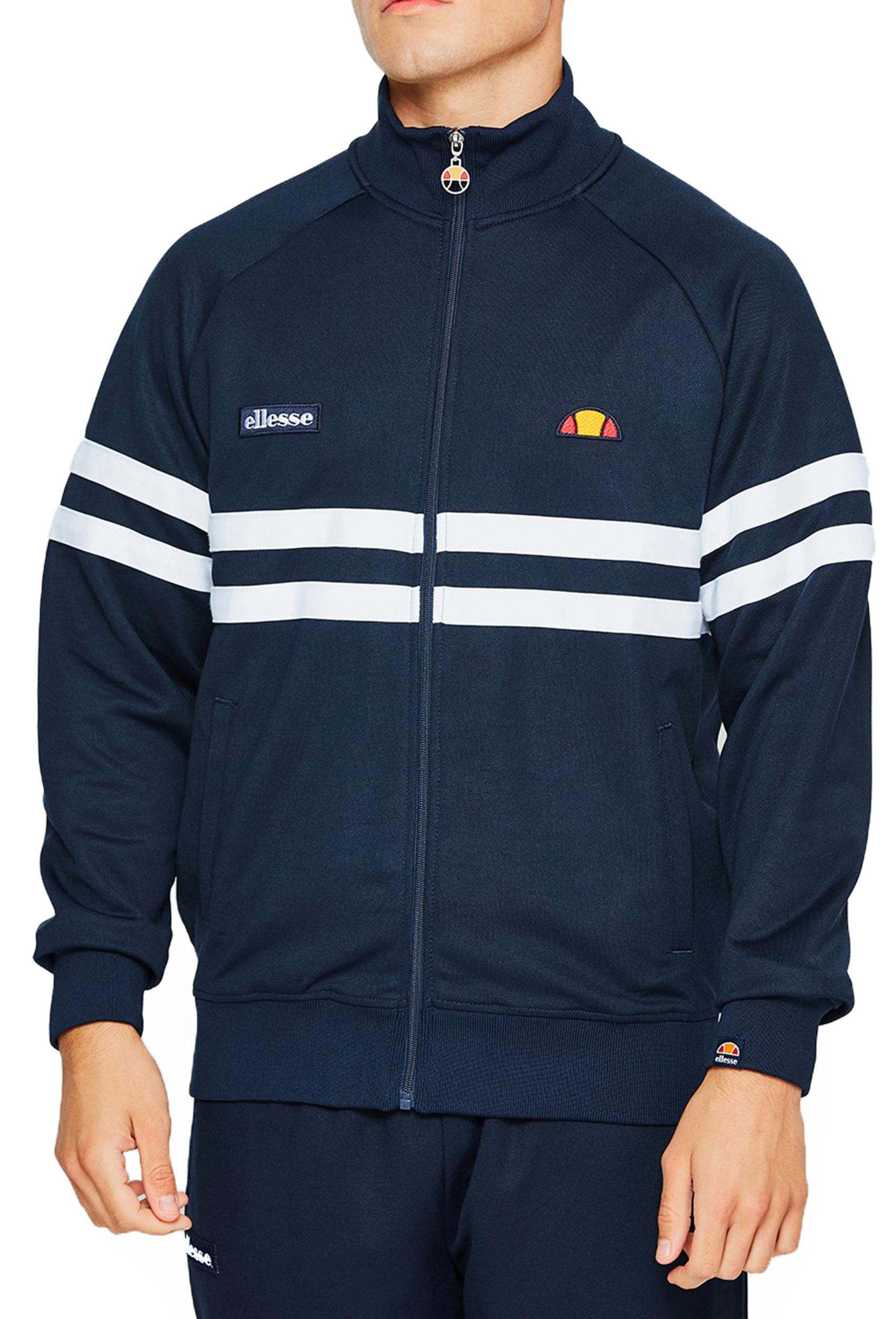 3653b089e7 Details about ellesse Mens Retro Rimini Track Jacket Zip Up Poly Sweat Top  Navy Blue