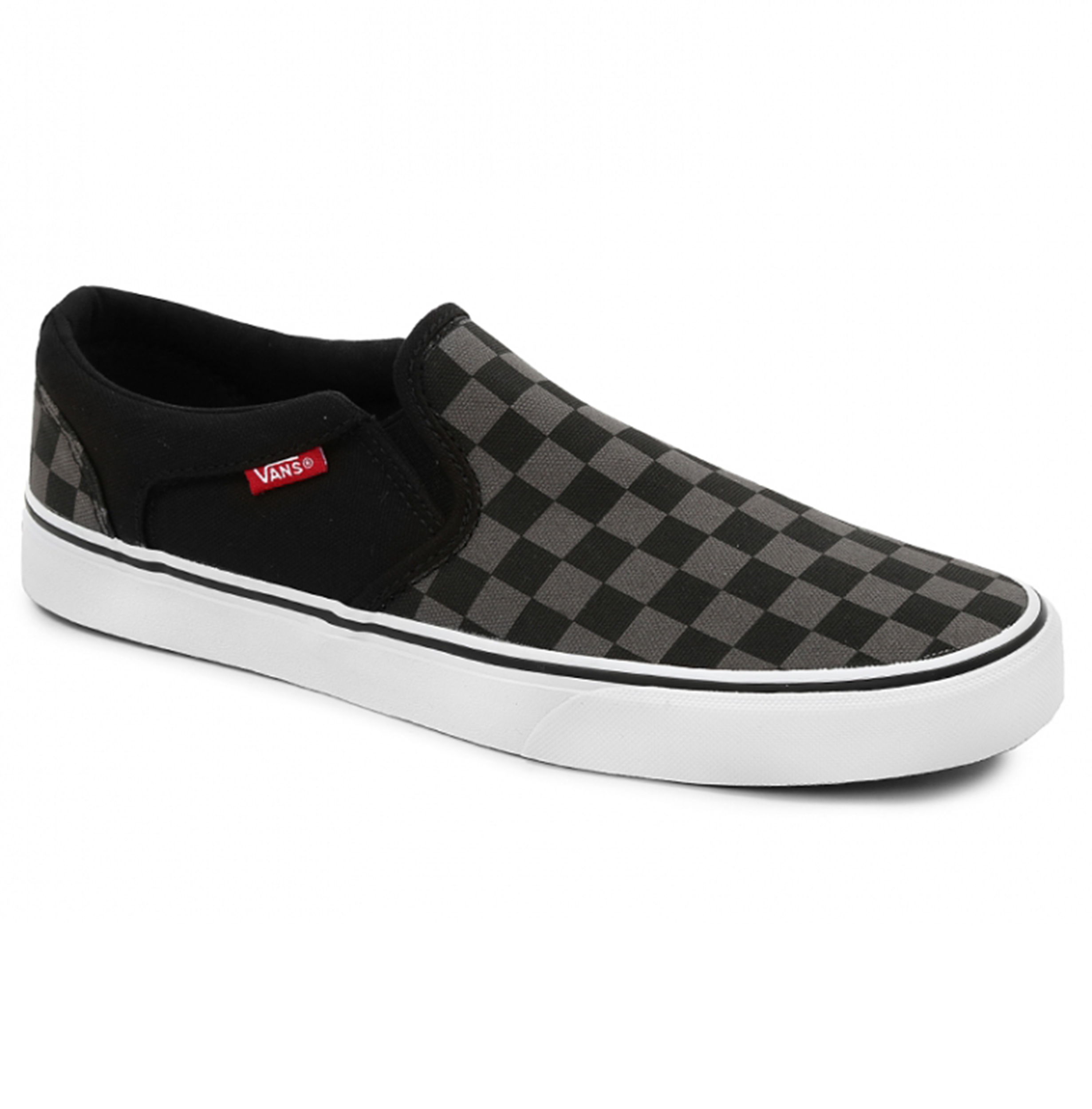 2e6ed1a6e7a19 VANS Asher Canvas Skater Trainers Checker Shoes Slip On Plimsolls ...