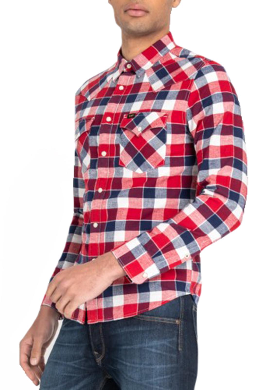 LEE Mens Long Sleeve Cotton Shirt Western Check Slim Fit Bright Red S M L XL XXL