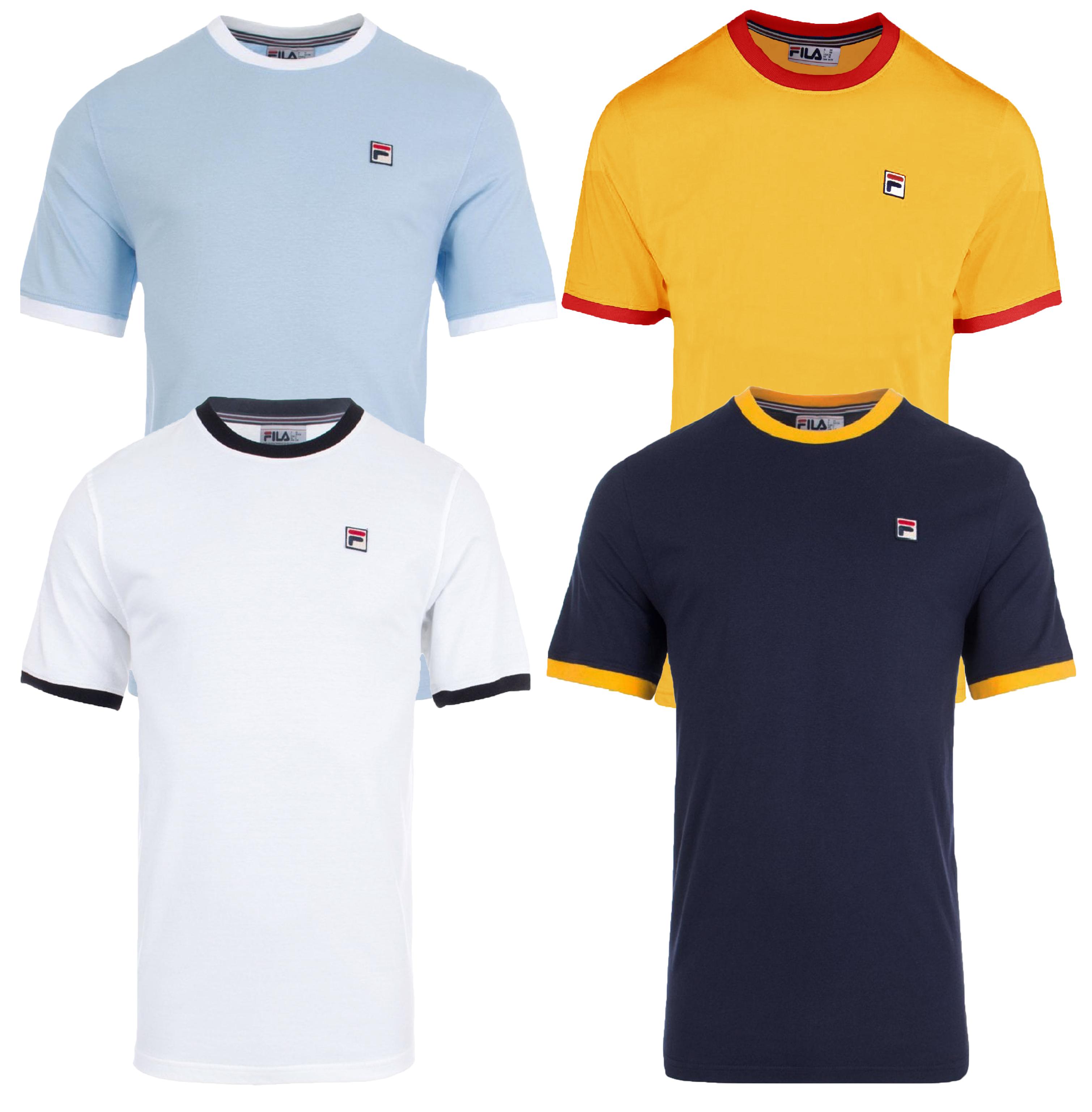6b7b9560113 Details about FILA Retro Marconi Crew Neck Plain Ringer T-Shirt Sports Top  Casual Tee