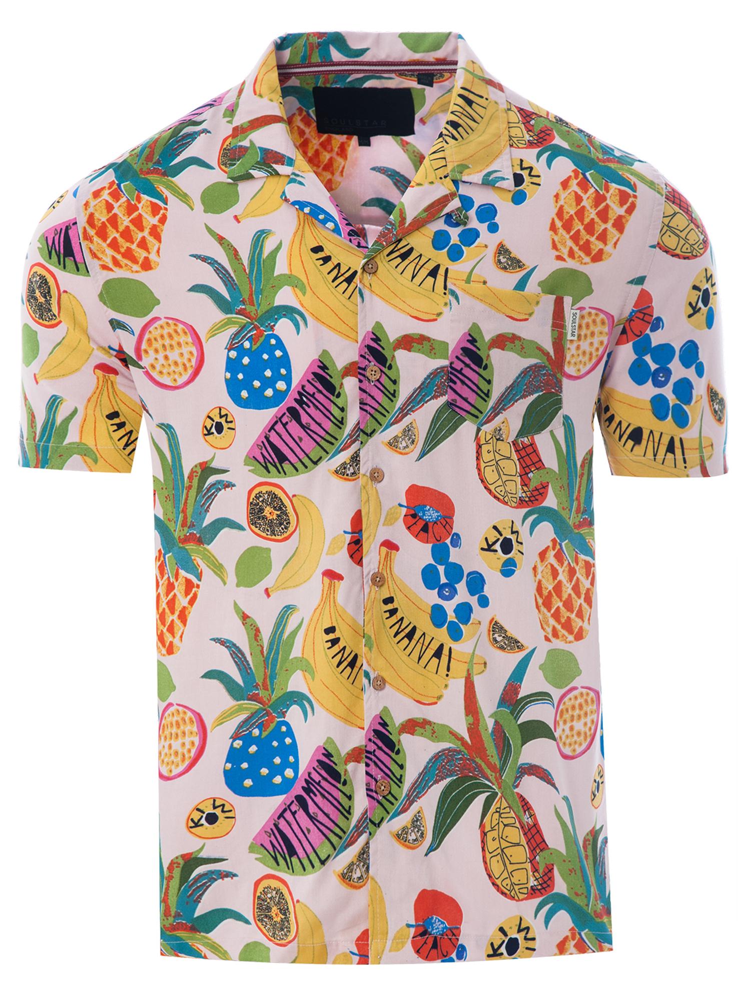 Soulstar Mens Cubano Collar Short Sleeve Summer Casual Parrot Hawaiian Shirt