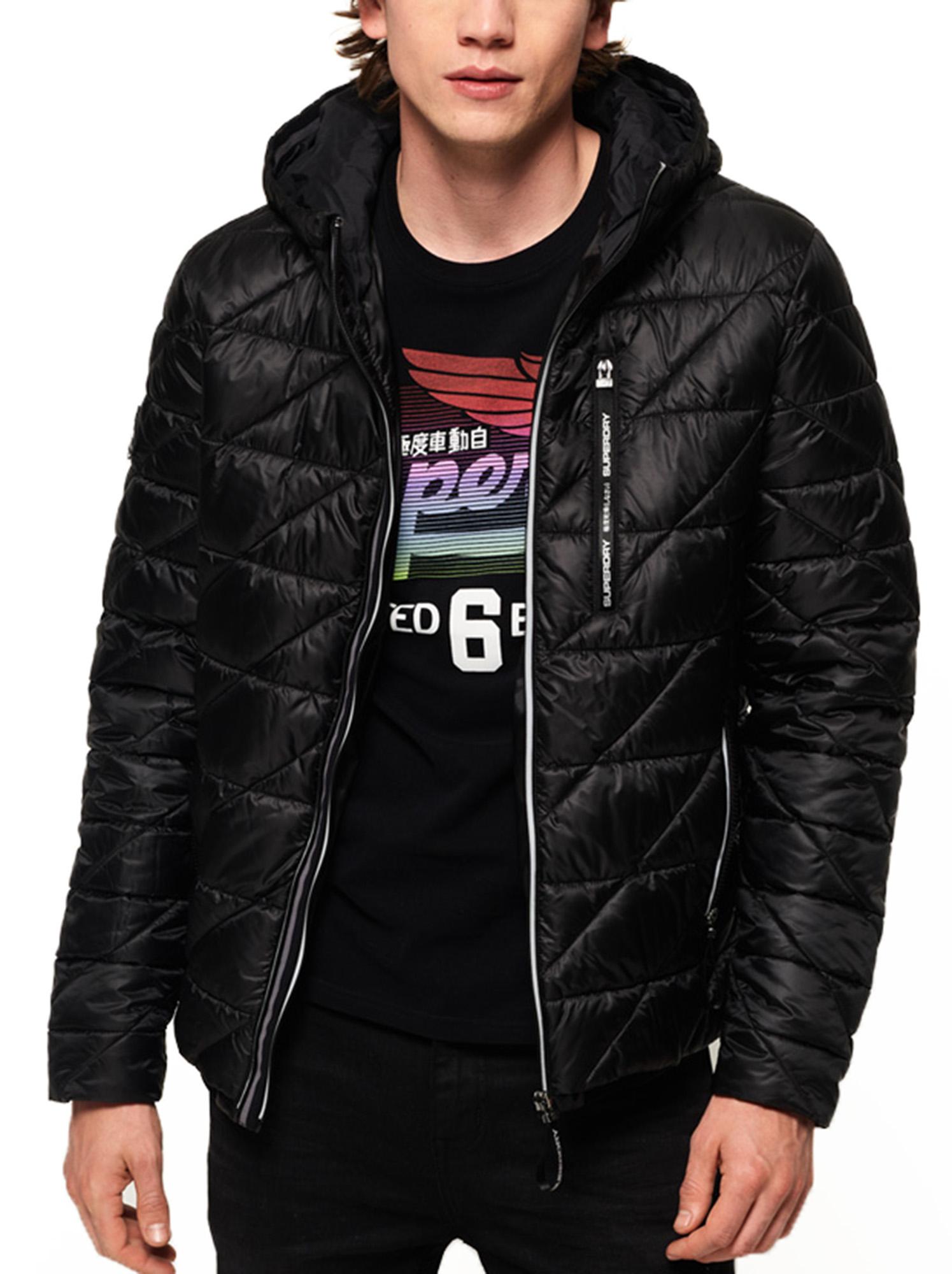 Details zu Superdry Mens Diagonal Quilt Fuji Hooded Zip Up Puffer Jacket Coat Jet Black