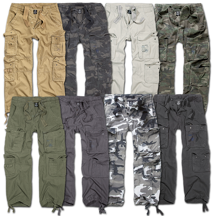 Brandit-Pure Vintage Trouser Nero Beige Cargo Pant Outdoor Army Pantaloni Esercito be