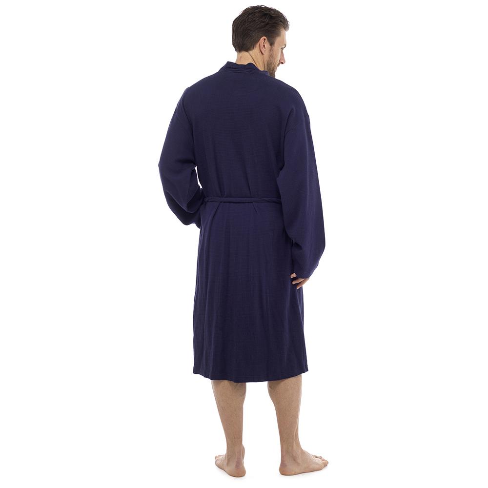 Mens White Lightweight Hotel Long Waffle Bath Robe Kimono