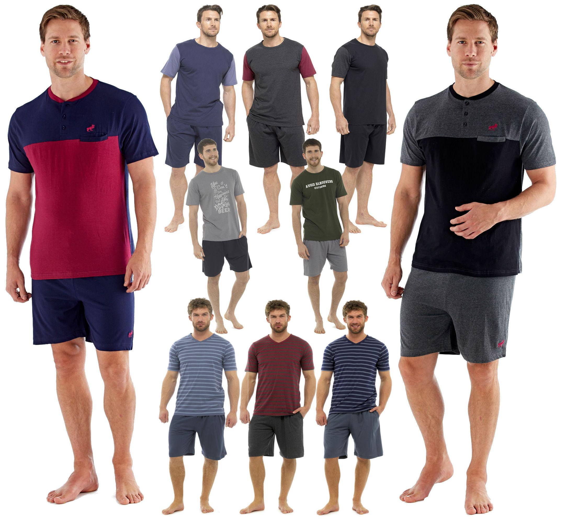 6b408bda12b65 Homme Coton Pyjamas Shorts Bottoms Set à manches courtes T shirt ...