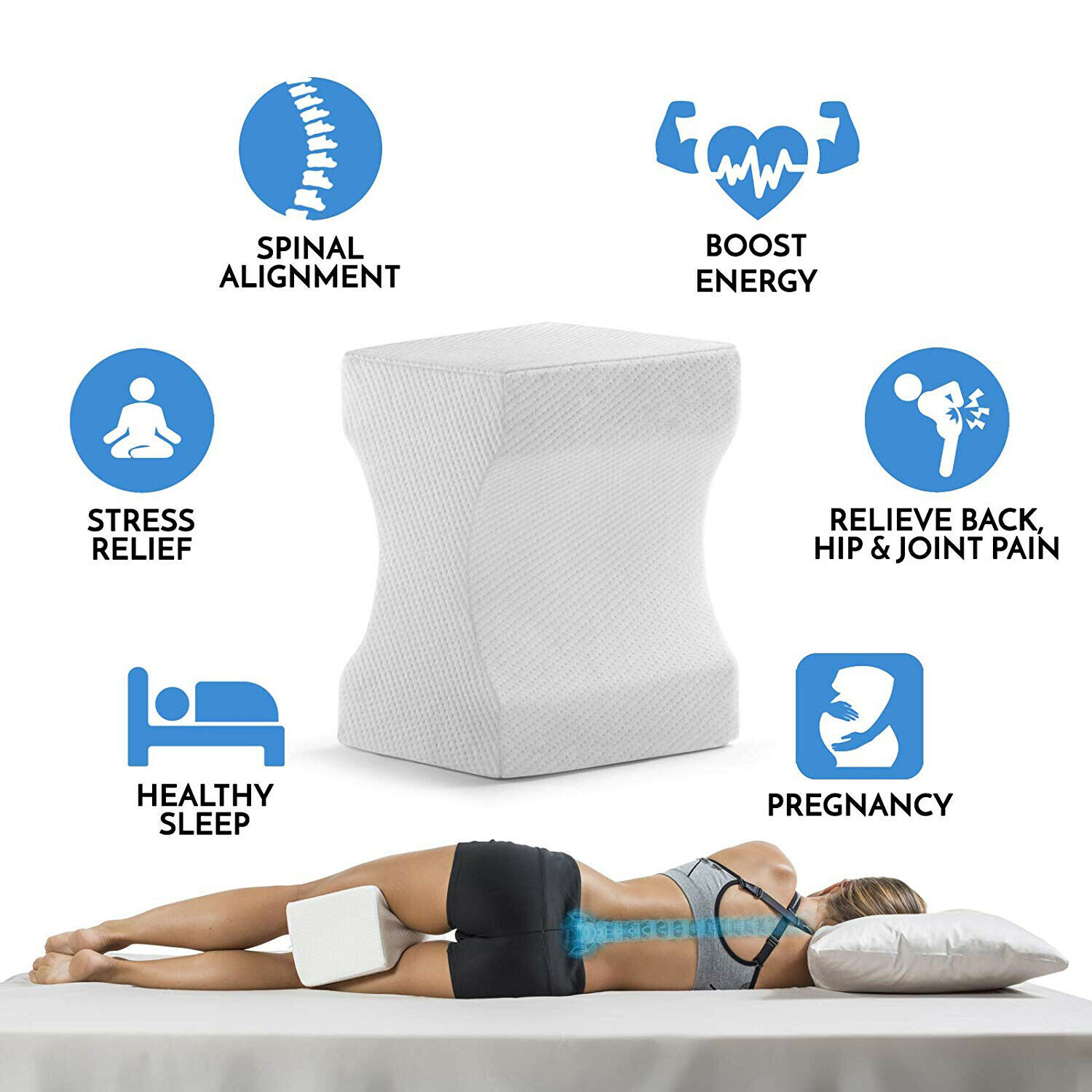 Picture of: Contour Memory Foam Leg Pillow Bed Back Hip Leg Knee Support Wedge Sciatica Ebay