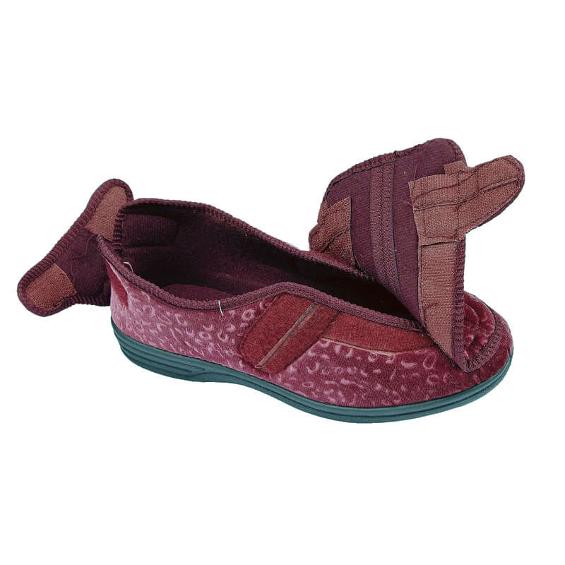 WOMENS DR LIGHTFOOT PURPLE WIDE FIT ORTHOPAEDIC STRAP SLIPPERS SHOES LADIES SIZE