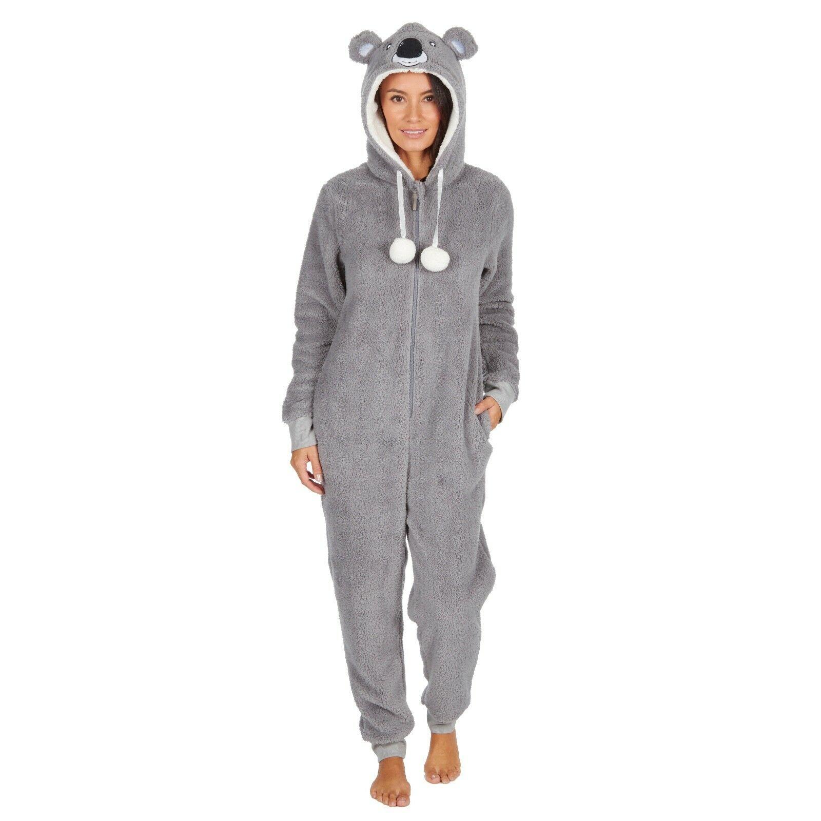 Details over Ladies Girls 1Onesie Hooded All in One Pyjamas Novelty Animal Fleece Zip Pajama