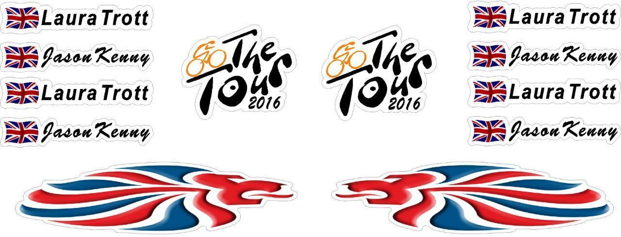 Fahrrad Rahmen & Helm Sticker personalisiert Großbritannien Flagge ...