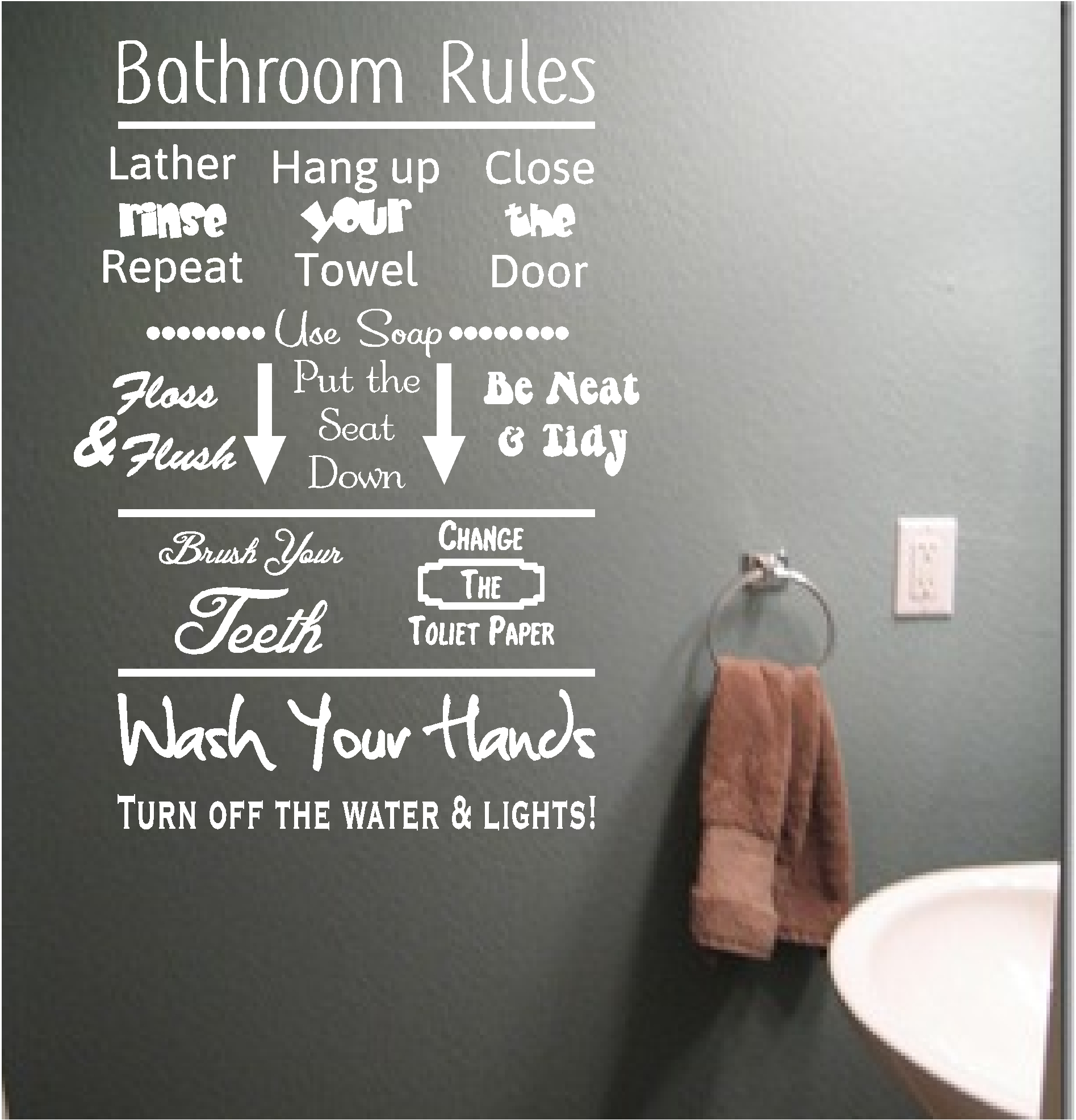 Bathroom rules vinyl wall art quote sticker wash words for Bathroom wall decor quotes