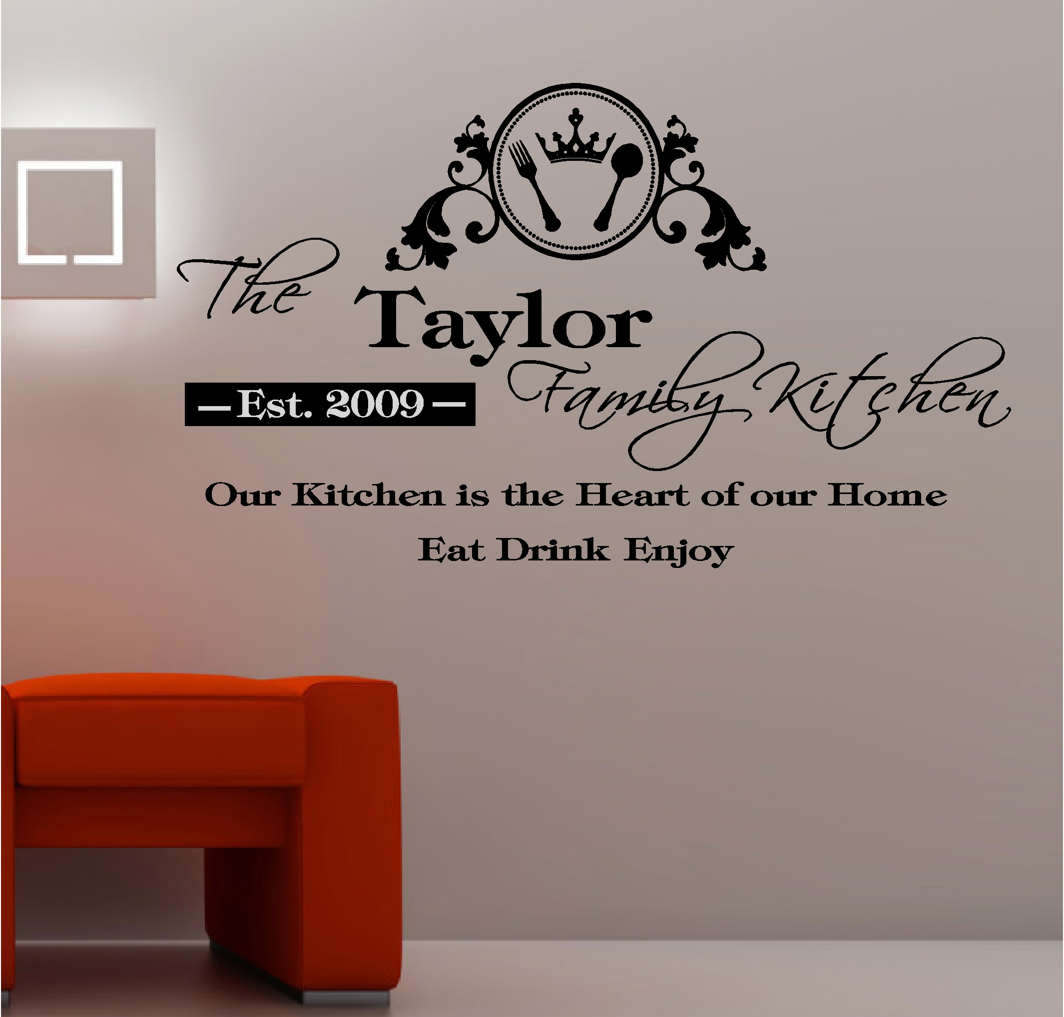 PERSONALISED KITCHEN Vinyl Wall Art QUOTE Sticker Heart Home Eat ...