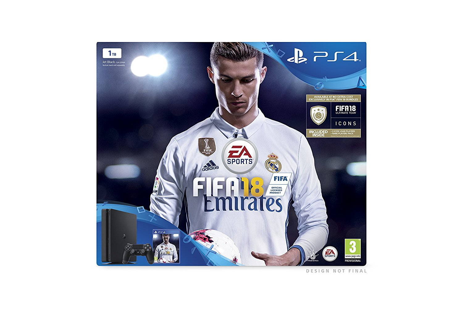 sony playstation 4 1tb console black fifa 18 bundle ebay. Black Bedroom Furniture Sets. Home Design Ideas