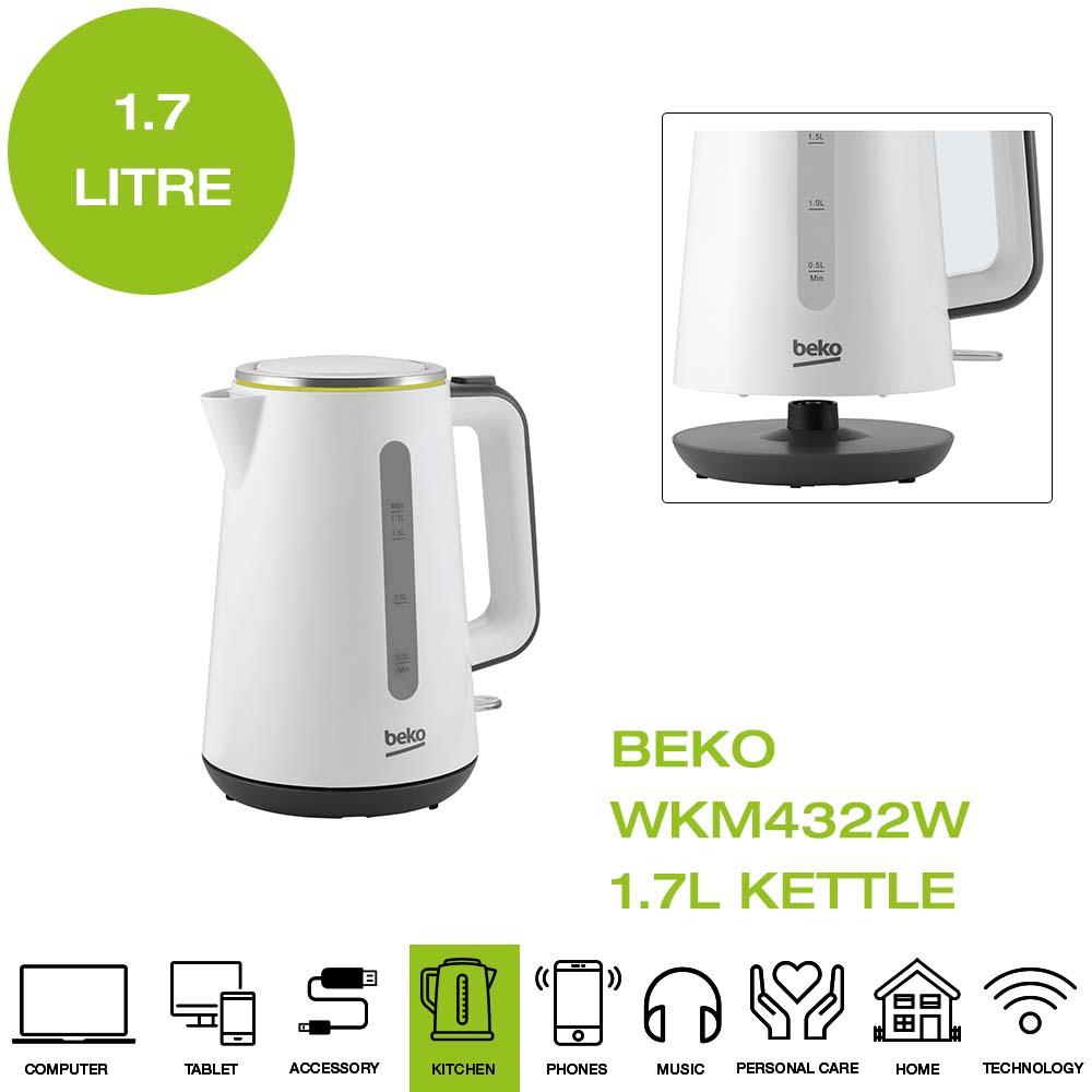 Beko WKM4322W New Line Kettle Limescale Filter 3000 Watt White