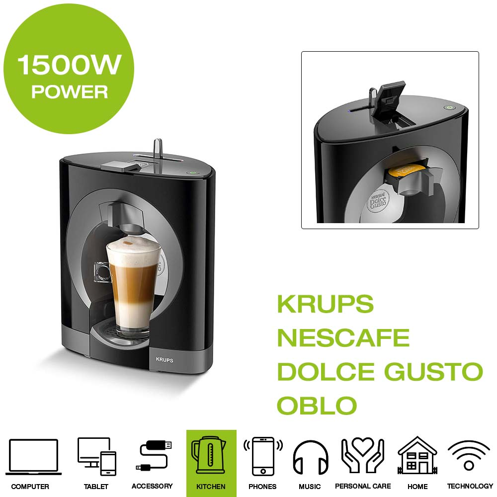 NESCAFE Dolce Gusto OBLO KRUPS KP110840 Macchina del Caffè Capsule Nero