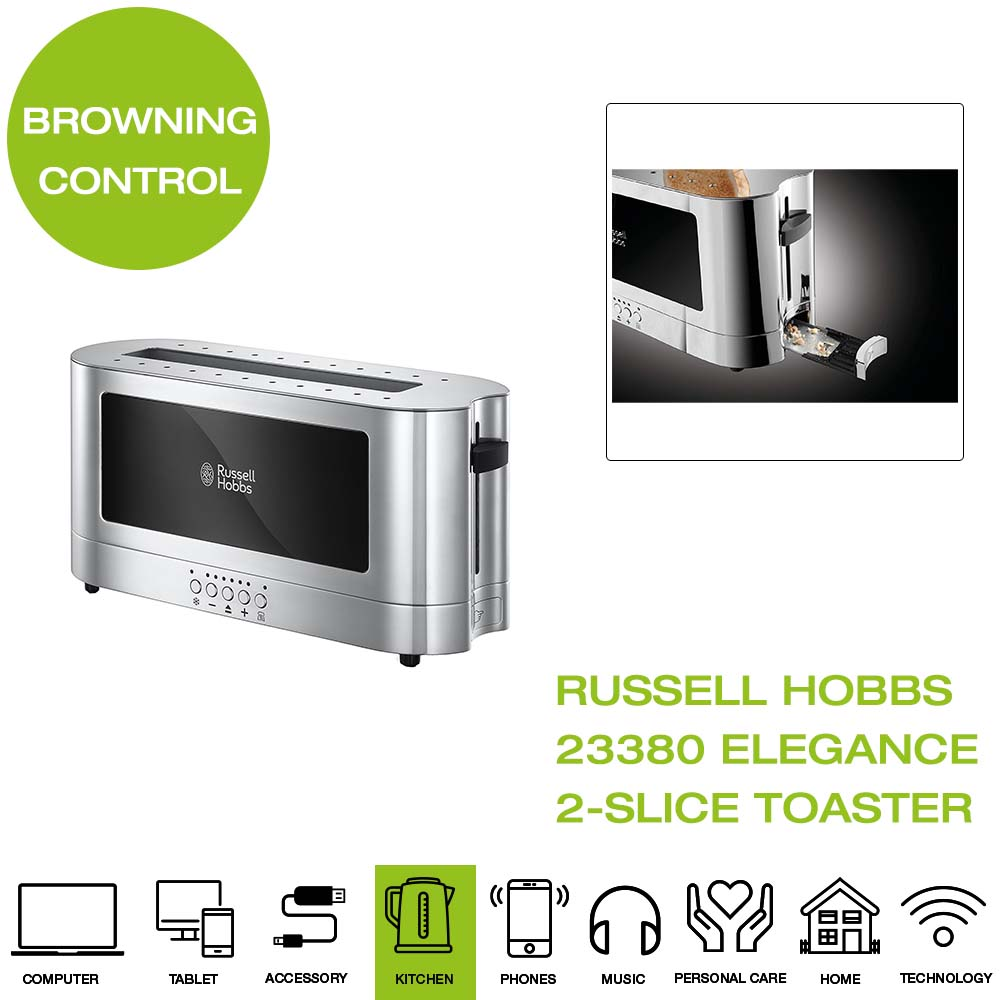 Russell Hobbs 23380 Elegance Two Slice Toaster Silver Defrost and Faster Toast Technology Browning Control