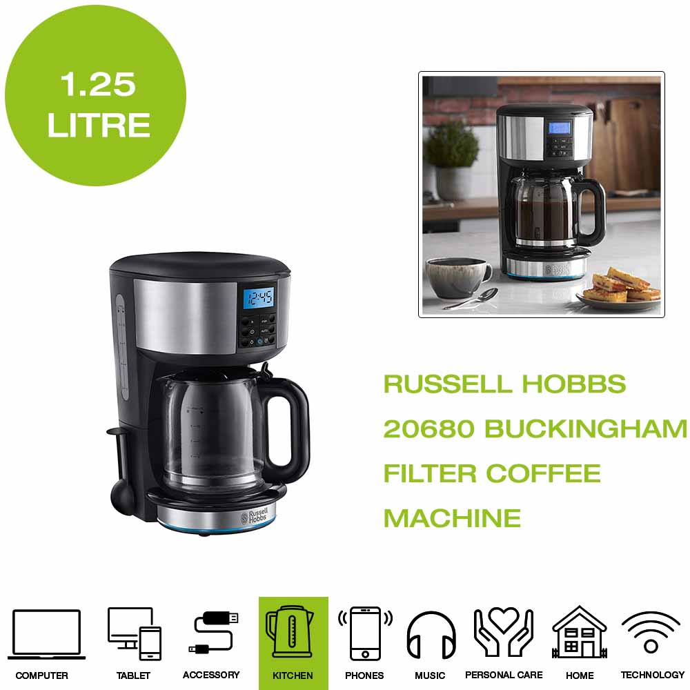 Details About Russell Hobbs 20680 Buckingham Filter Coffee Machine 125l Black