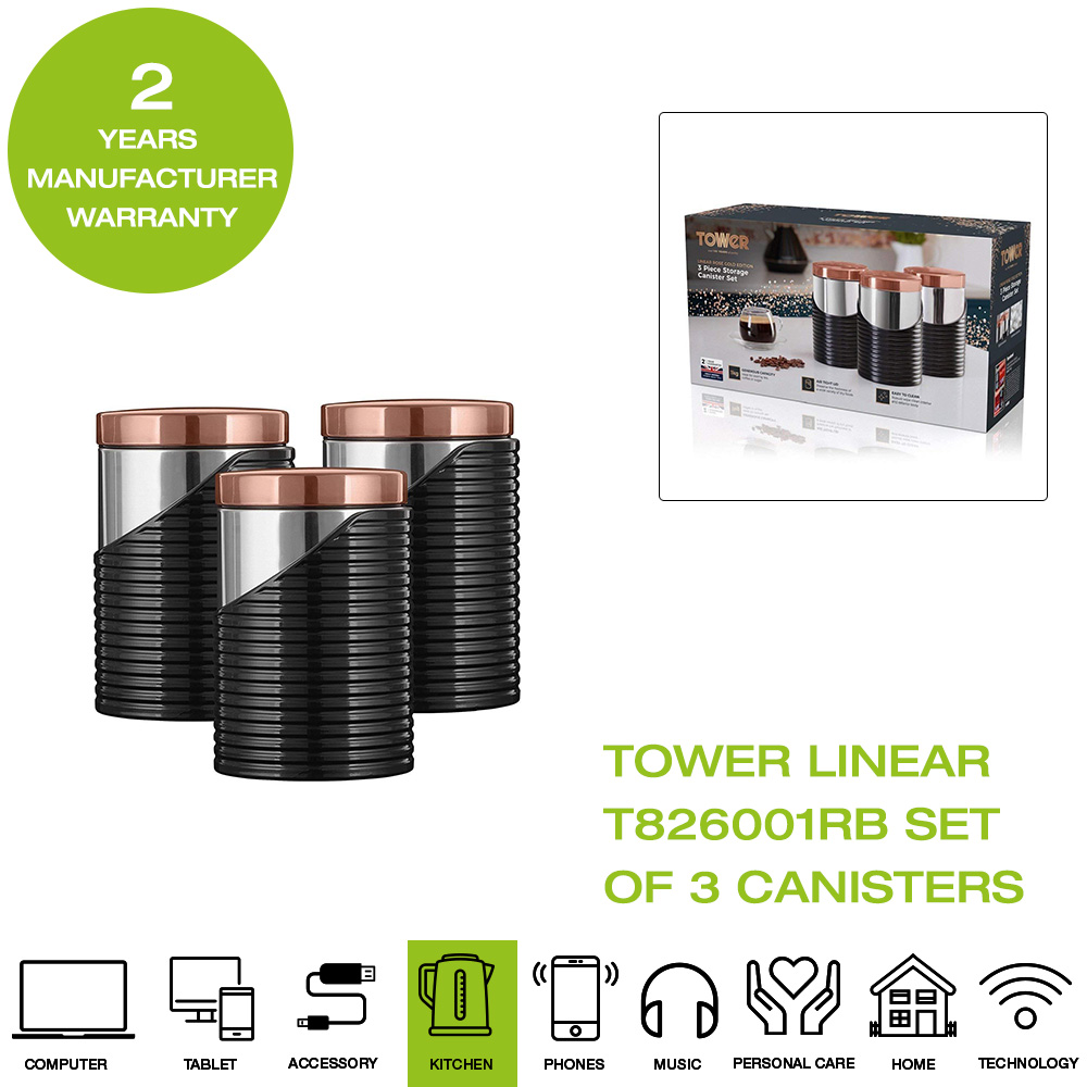 ce89ac11111a *Brand New* Tower T826001RB Linear Set of 3 Canisters - Black & Rose Gold
