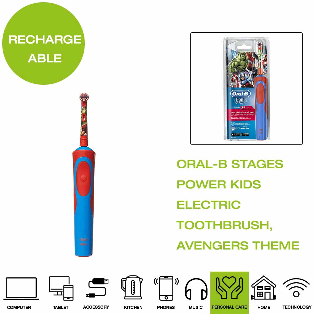 Details about *Brand New* Oral B Stages Power Kids Electric Toothbrush, Avengers Theme Blue